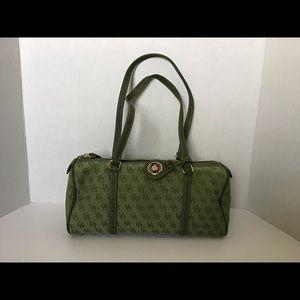 Dooney & Bourke Green Canvas Barrel Monogram Bag